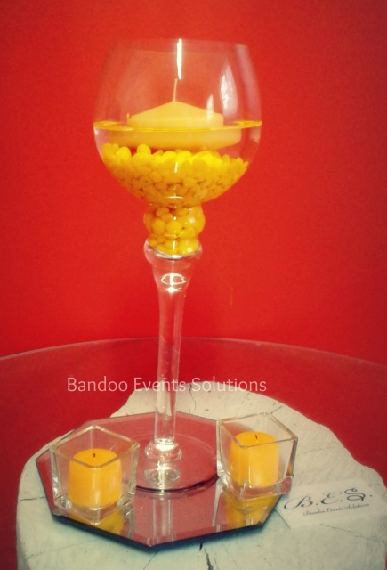 Glass Vase Centrepiece With Coloured Beads And Floating Candle